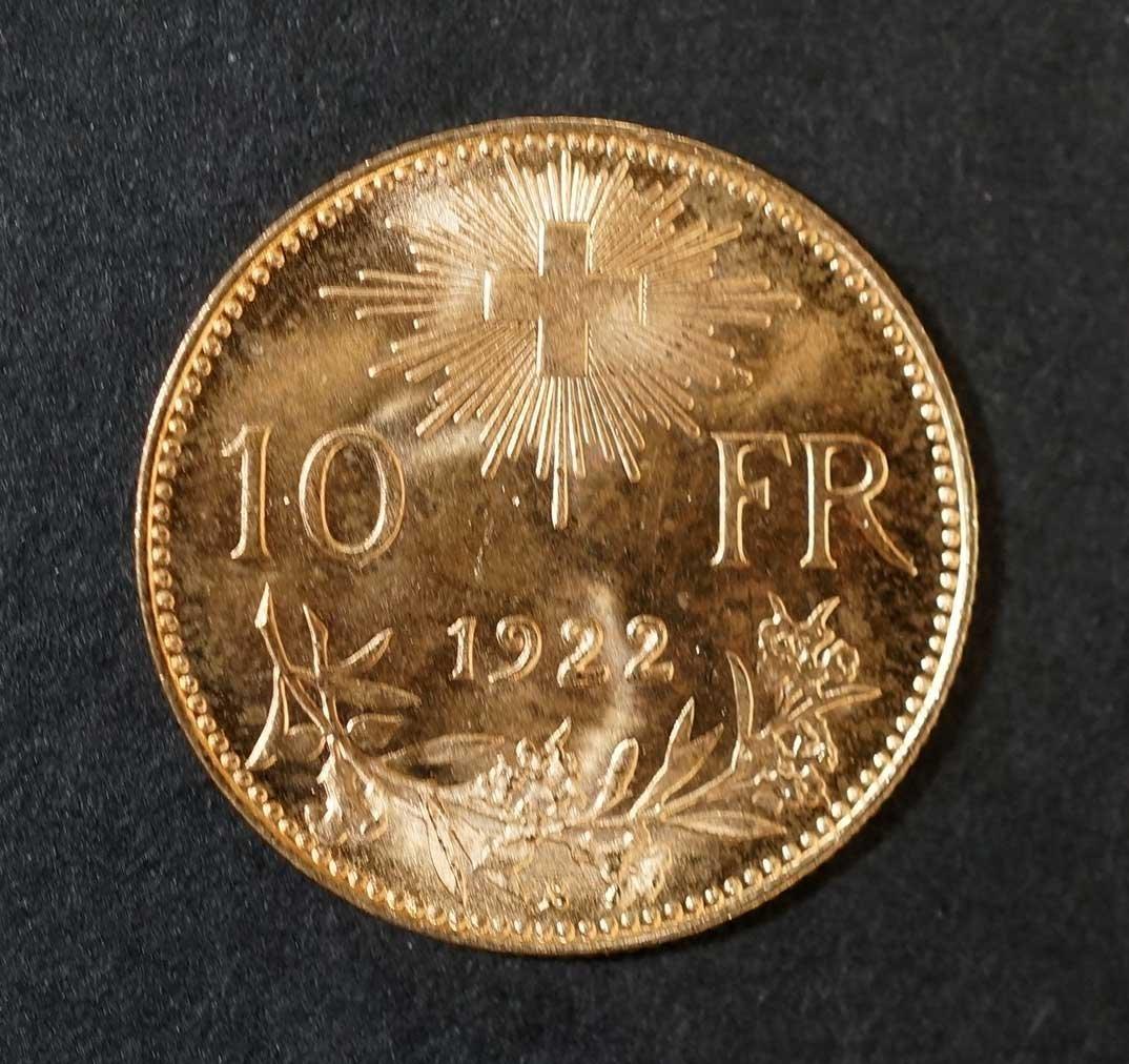 Gold 1922 Switzerland 10 Francs Gold Coin, 3.2gr, 19mm - 2
