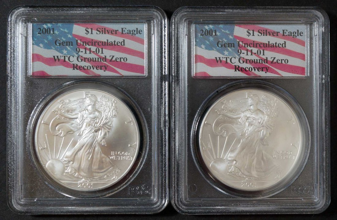 (2) 2001 WTC Ground Zero $1 Silver Eagles, Gem