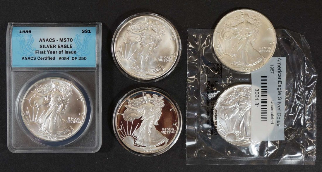 Group of (5) US Silver $1 American Eagles including