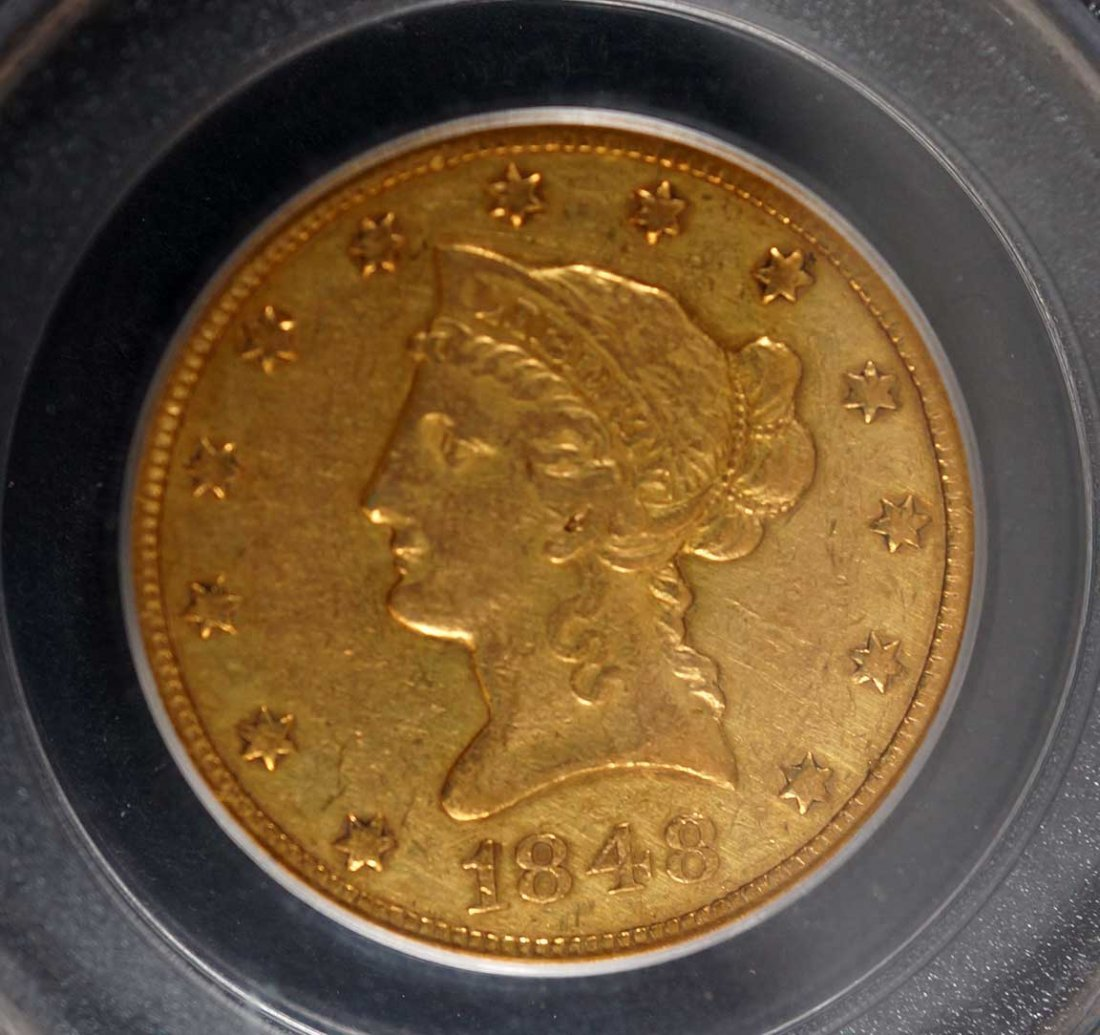 Gold 1848 $10 Liberty Head US Eagle Gold Coin, PCGS