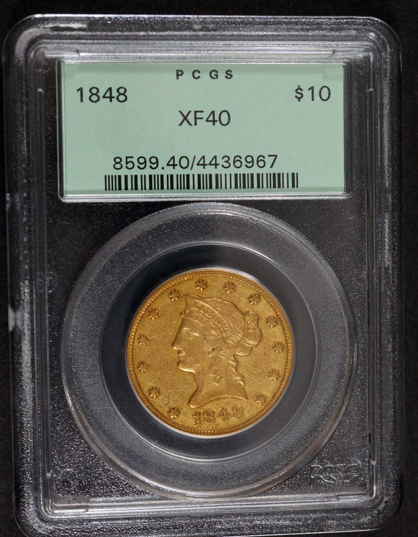 Gold 1848 $10 Liberty Head US Eagle Gold Coin, PCGS - 2