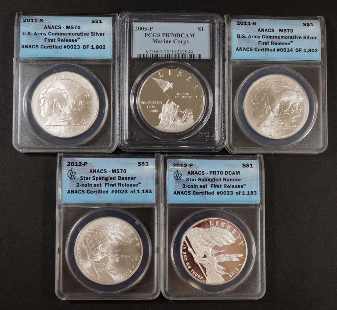 Group of Silver Dollars Commemorative Dollars (5) US