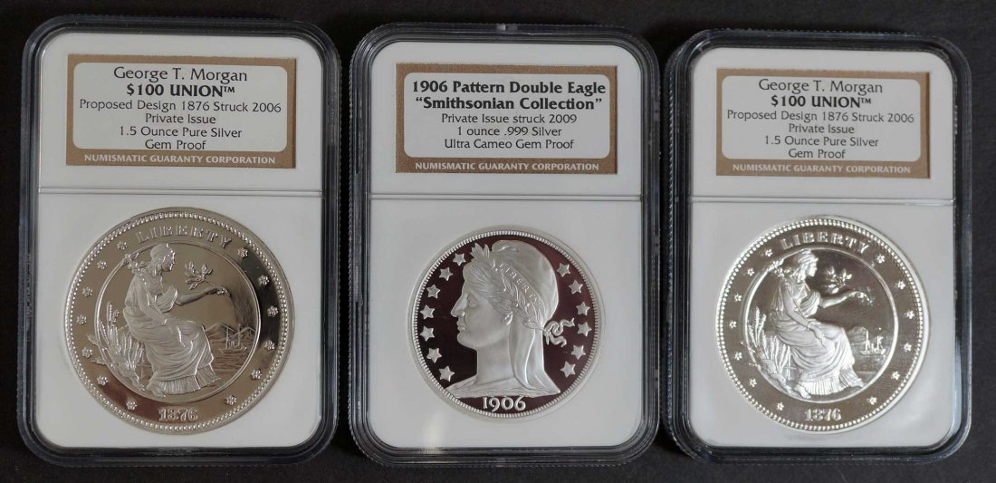 (3) Private Issue Silver Commemorative Coins includes