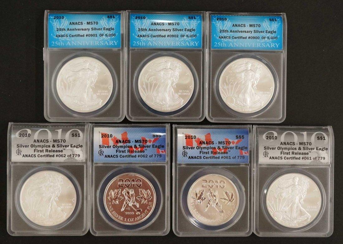 (7) 2010 Anacs MS70 $1 Silver Eagles, (3) 25th