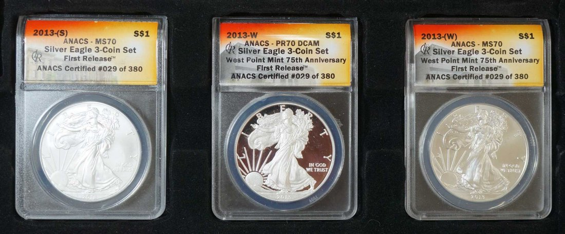 2013 Silver Eagle 3 Coin Set, First Release, ANACS #029