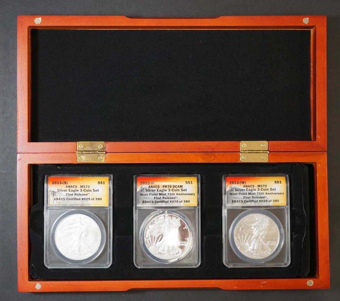2013 Silver Eagle 3 Coin Set, First Release, ANACS #029 - 2