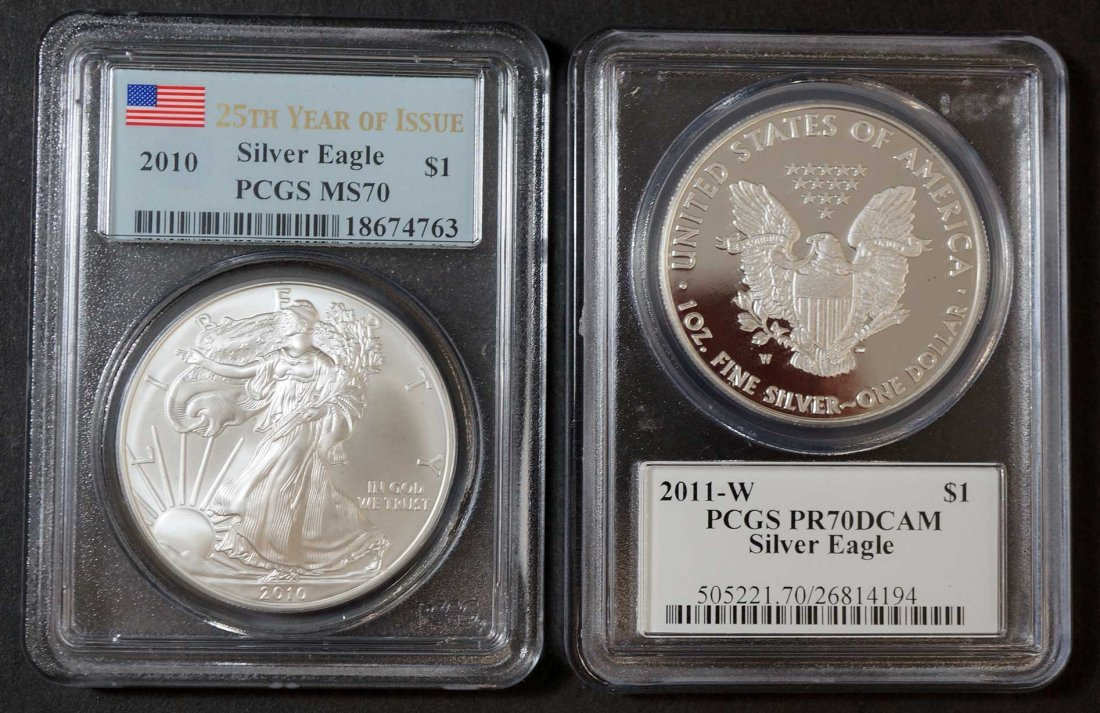 (2) Silver Eagles, 2010 25th Year of issue, PCGS MS70 &