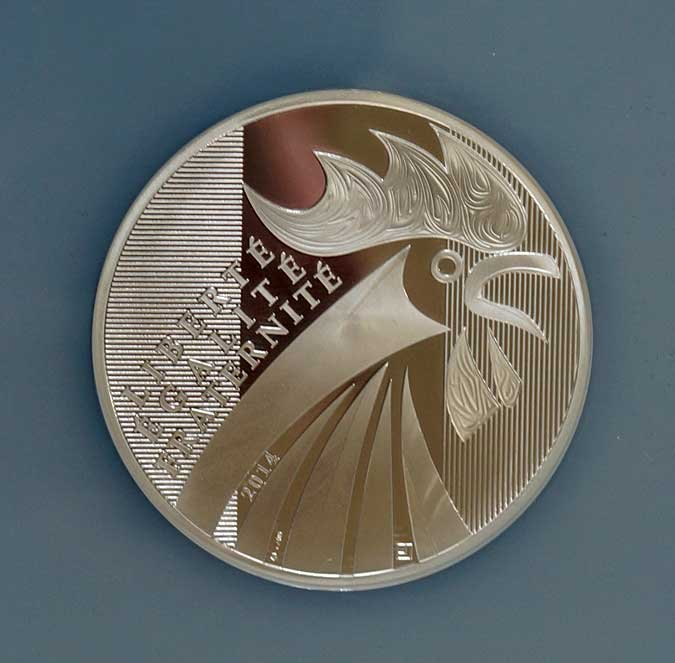 France 2014 Silver $100 Euro Rooster, MS70, One of the