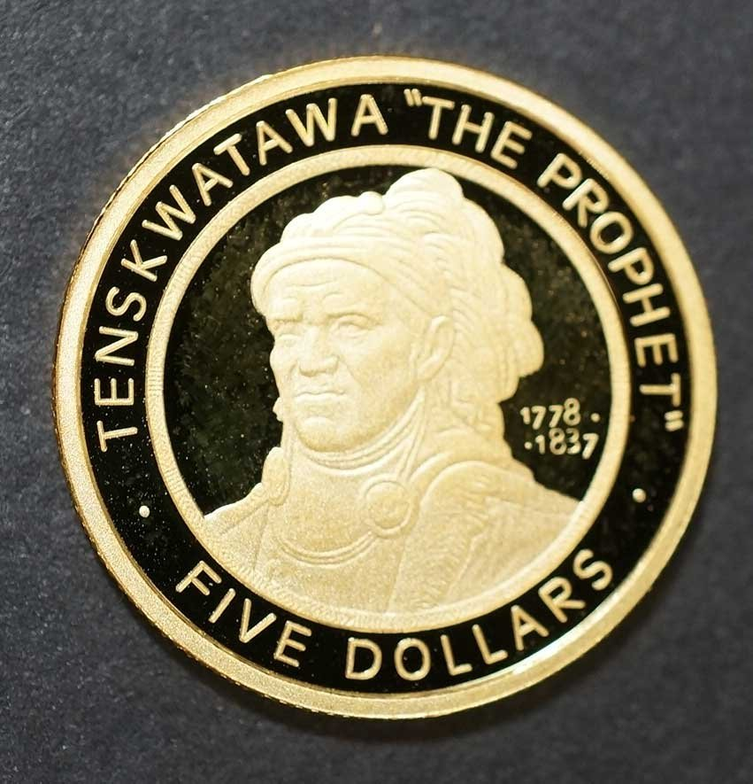 Gold 2002 Shawnee Nation proof Gold Coin, 1/5 ounce