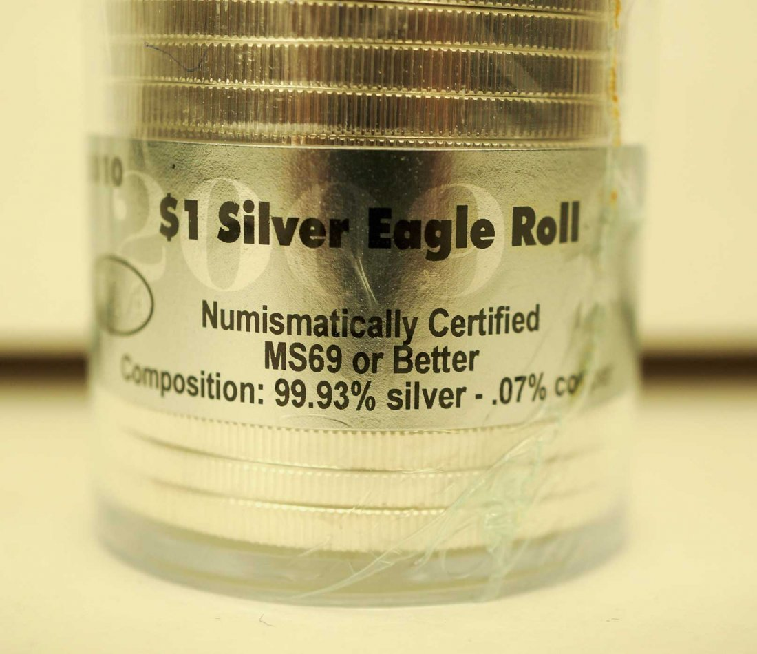 2010 Sealed Roll of (20) Silver Eagles, MS69 or Better - 3