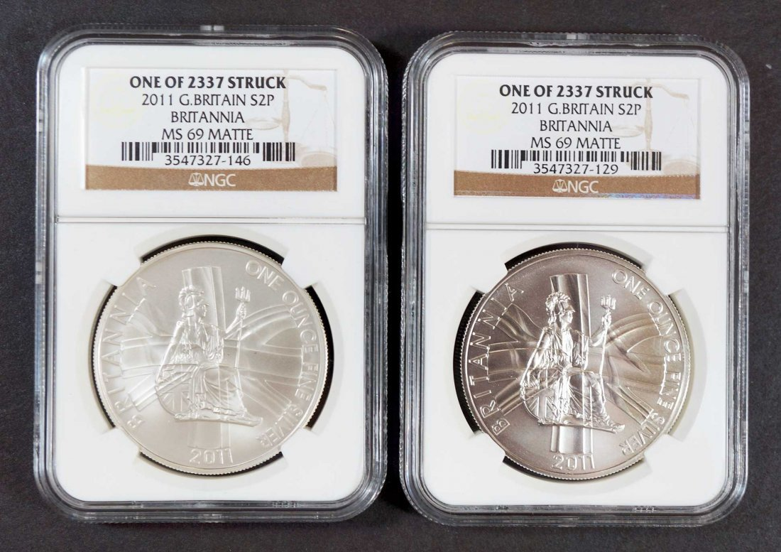 (2) 2011 Great Britain Silver 2 pound Britannia Coins,