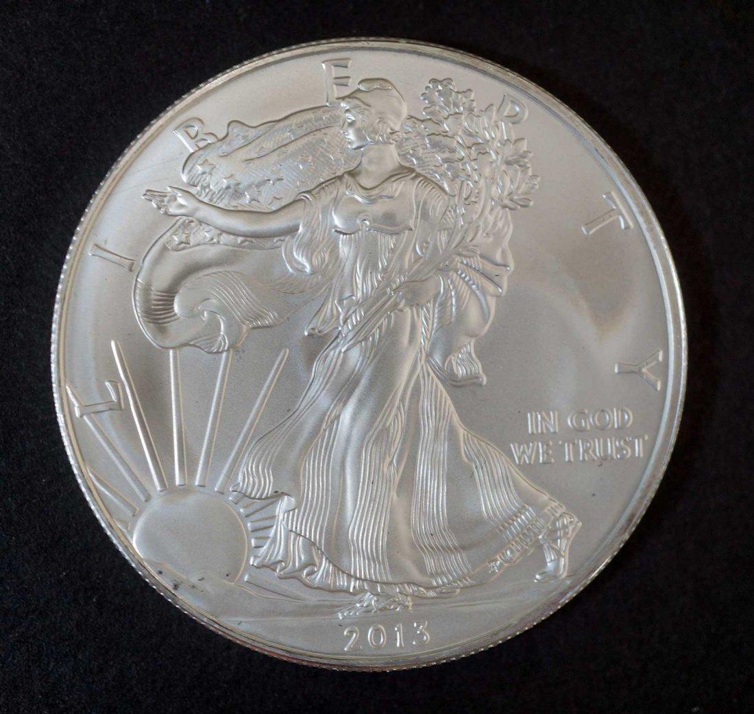 (10) 2013 Silver Eagles $1 one ounce .999 silver w/COA