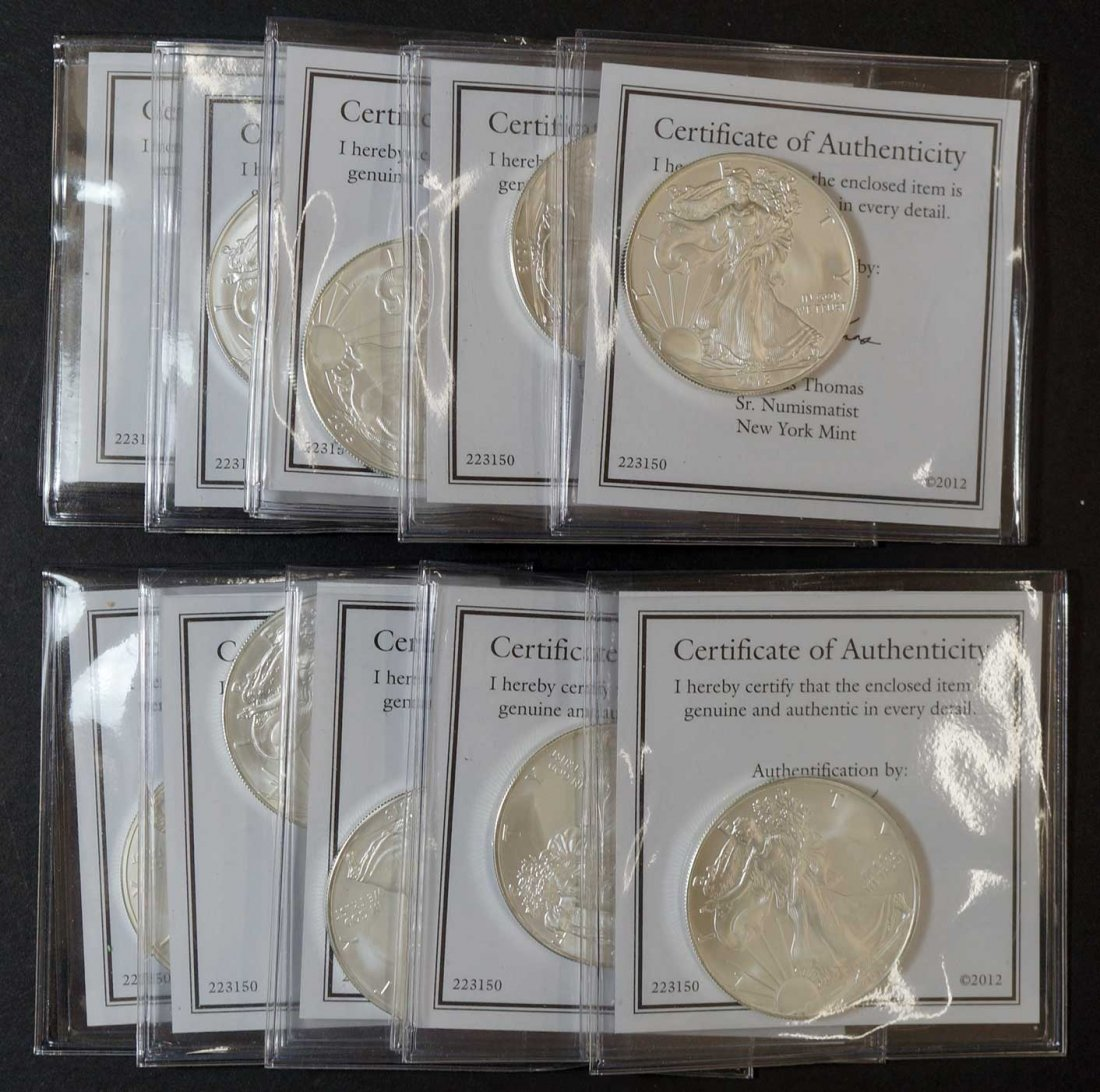 (10) 2013 Silver Eagles $1 one ounce .999 silver w/COA - 2