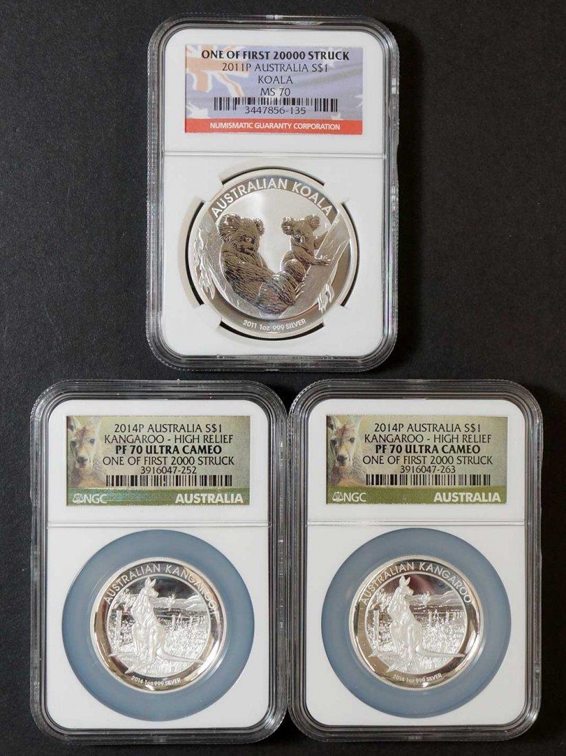 (3)Australia Silver Dollar Coins, (2) 2014-P $1 Silver