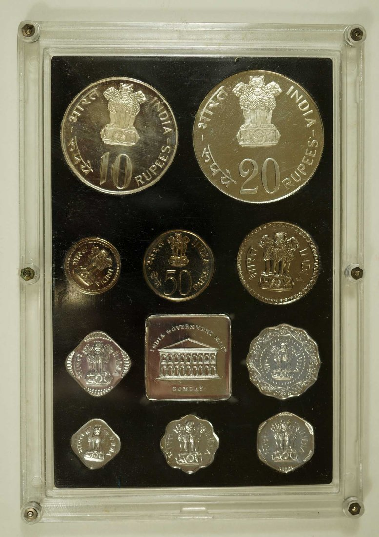 India 1973 10 coin Proof Set