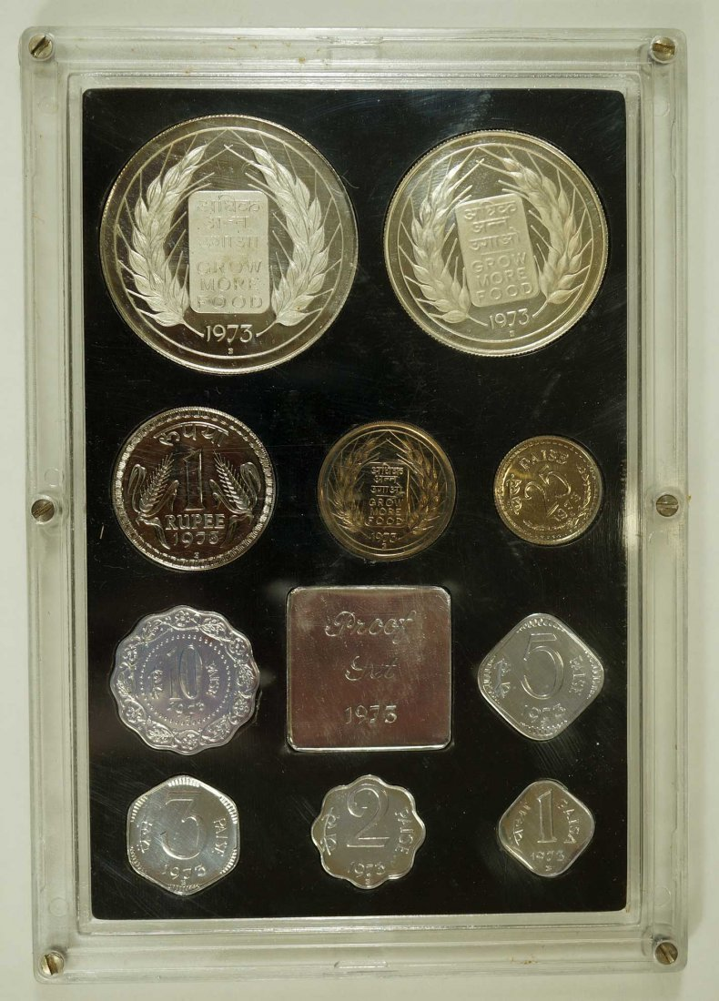 India 1973 10 coin Proof Set - 3