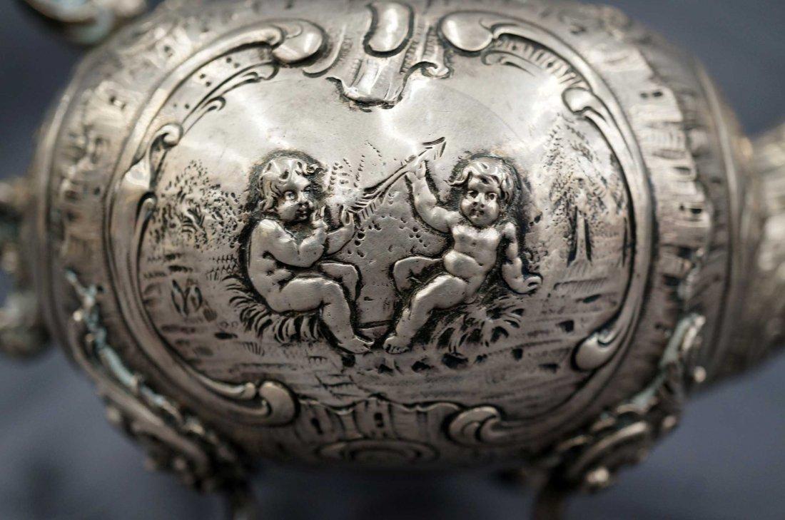 18th/19th Century Continental Silver Teapot w/Putti, - 2