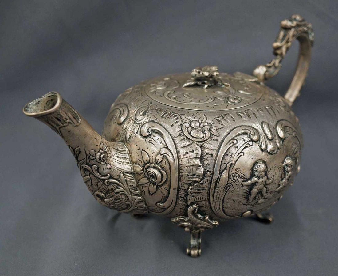 18th/19th Century Continental Silver Teapot w/Putti, - 4