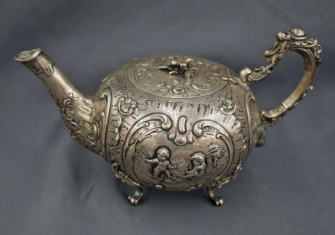 18th/19th Century Continental Silver Teapot w/Putti, - 5