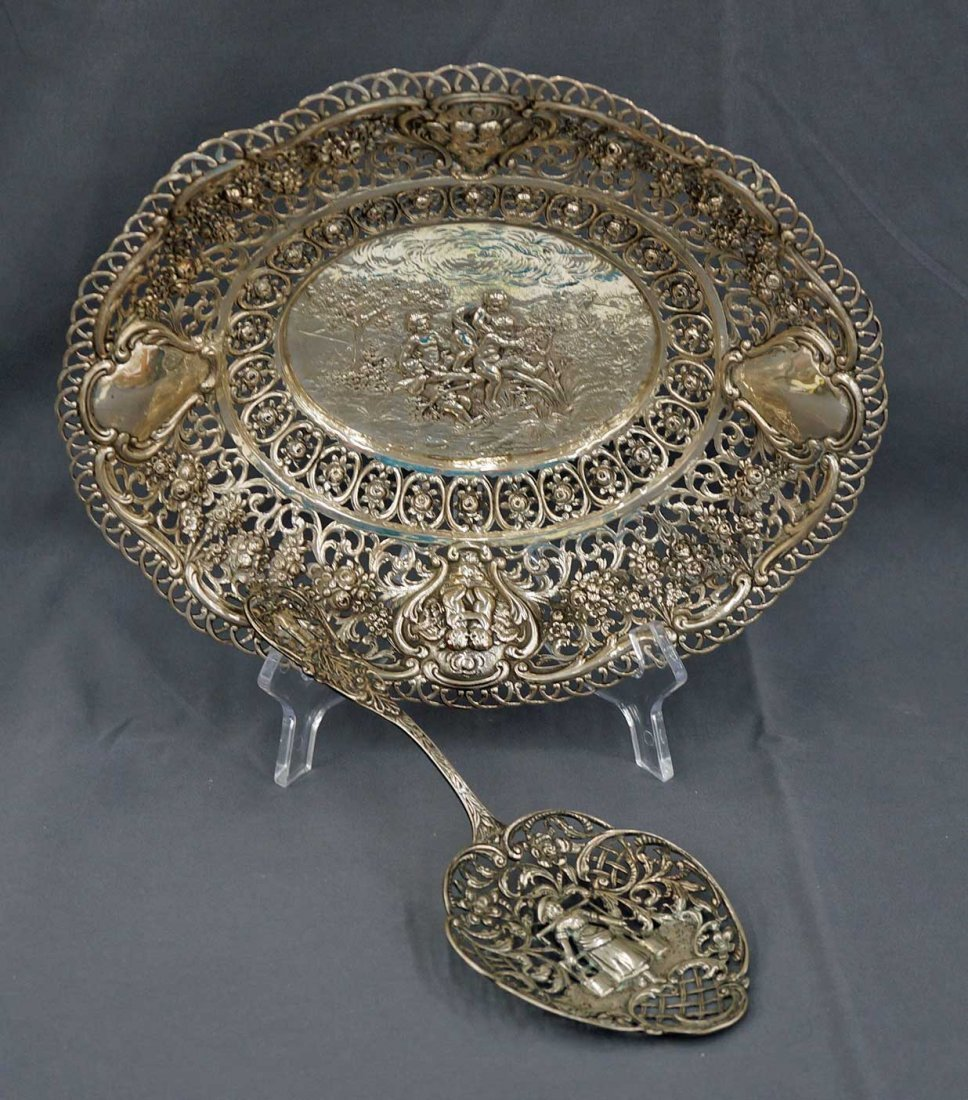 Two pieces Antique Continental Silver Basket & Serving