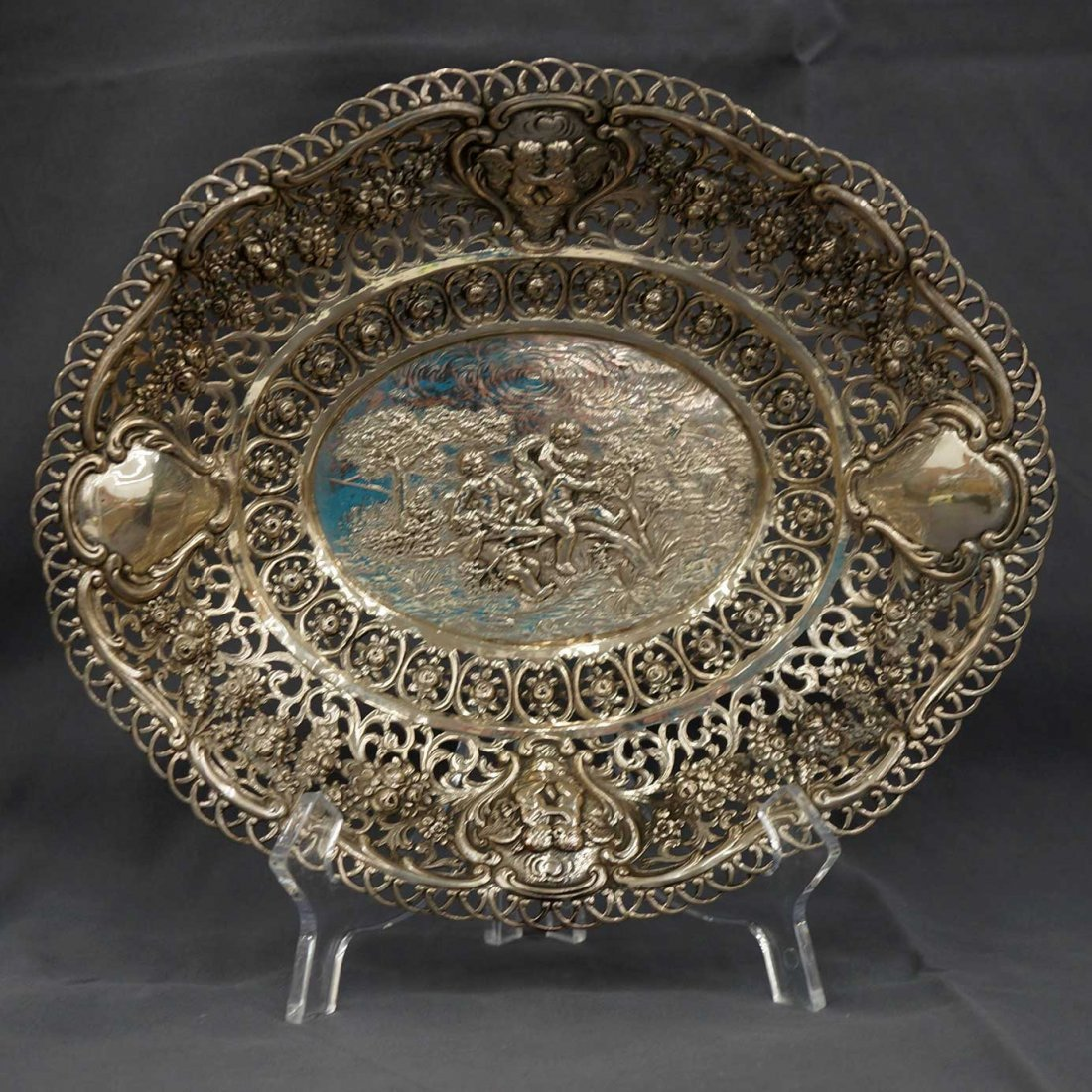 Two pieces Antique Continental Silver Basket & Serving - 3