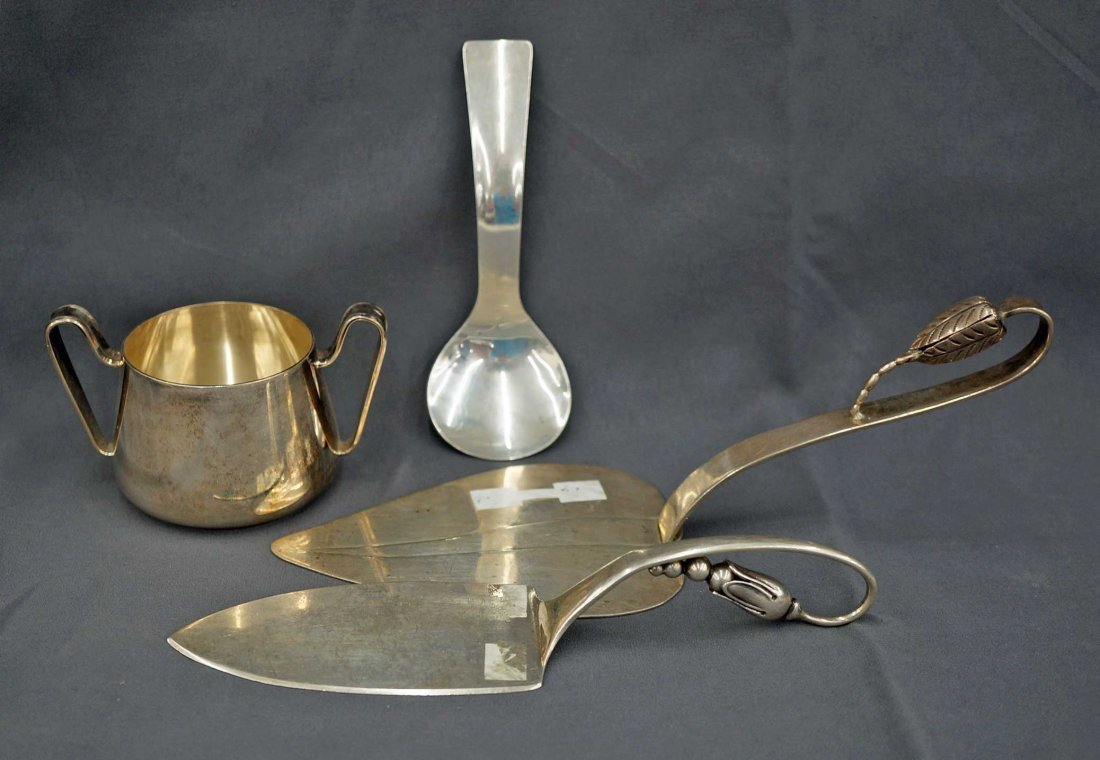 (4) pieces Mid Century Modern Sterling ServingPieces - 2