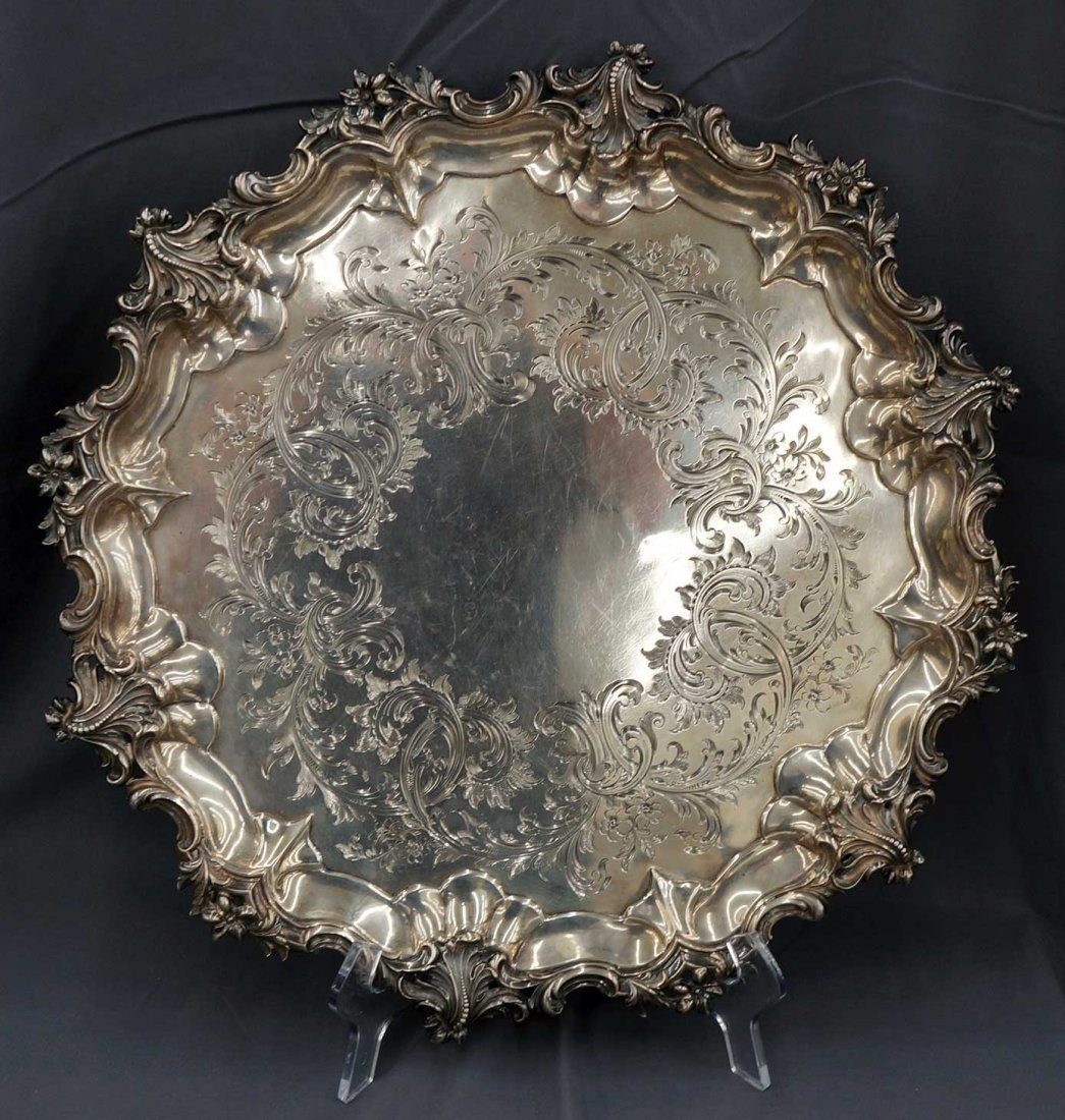Large Victorian Sterling Silver Circular Footed Salver
