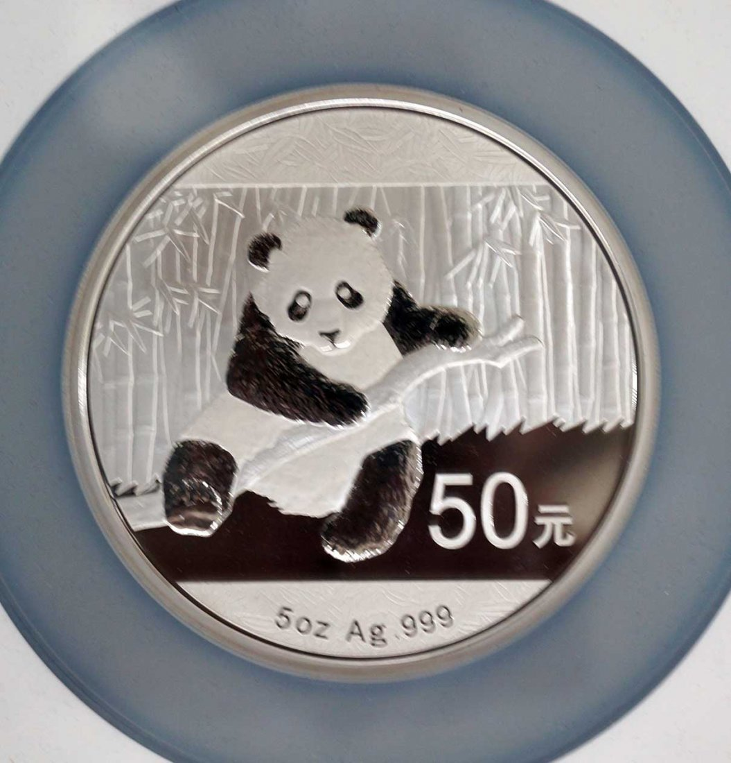 2014 China 5 Oz. Silver 50 Yuan Panda Coin. NGC PF70