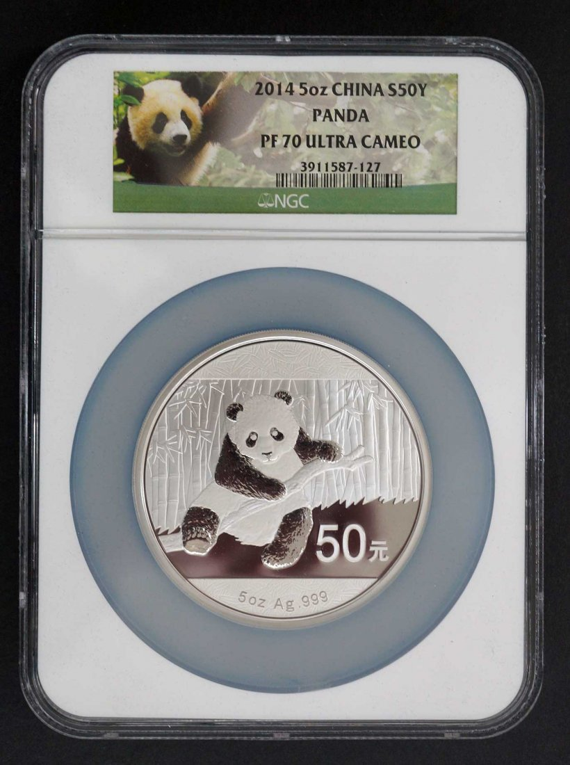 2014 China 5 Oz. Silver 50 Yuan Panda Coin. NGC PF70 - 2