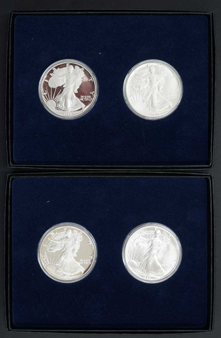 Two Sets of 1986 Silver American Eagles. Pairs include - 3