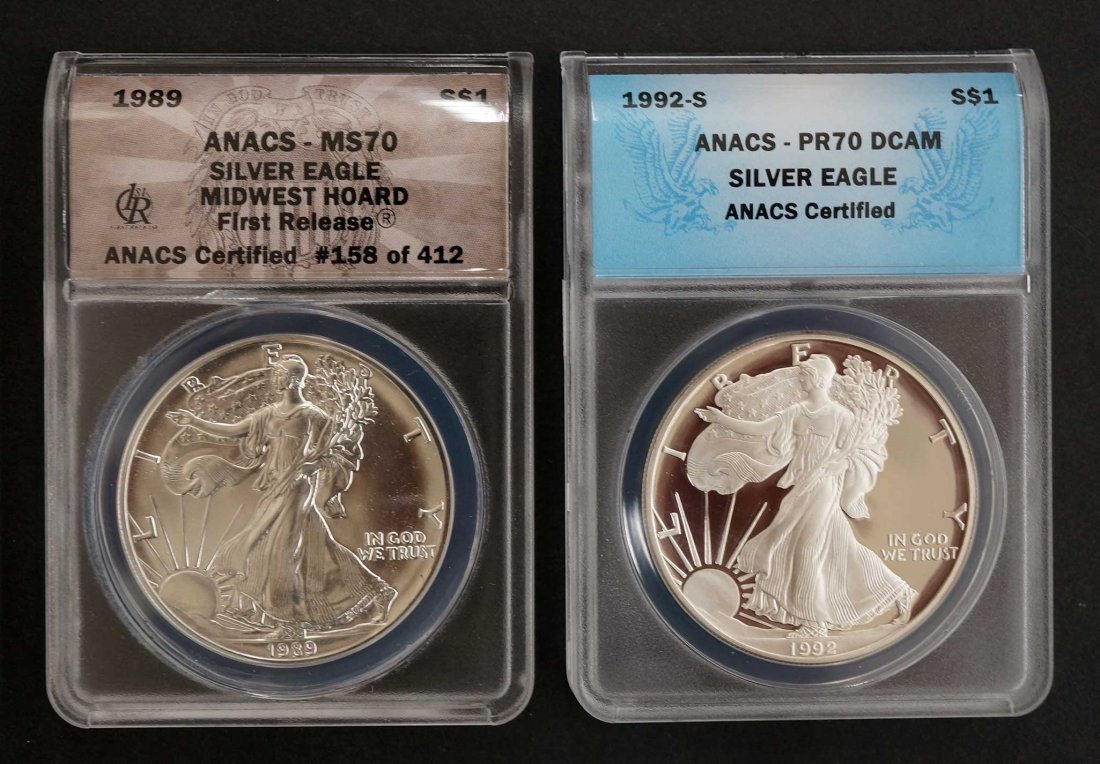 2pc Graded US $1 Silver Eagles. 1989 Midwest Hoard
