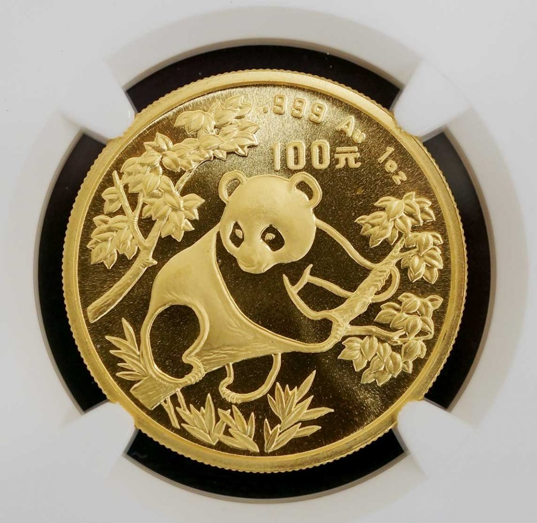 China 1992 Gold 100 Yuan Small Date Panda MS 70