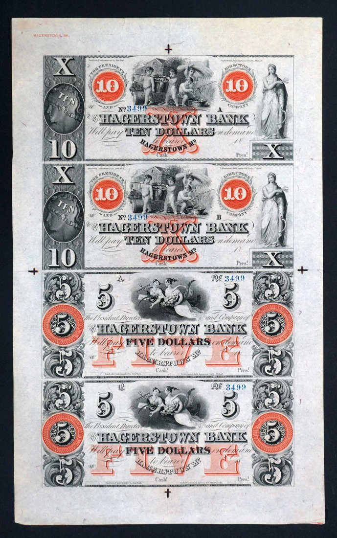 Hagerstown Bank, Maryland Uncut Full Sheet