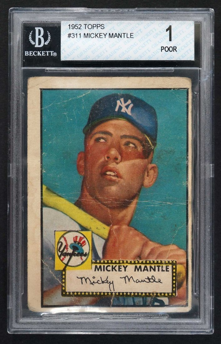 1952 Topps #311 Mickey Mantle Rookie (Beckett 1 Poor)