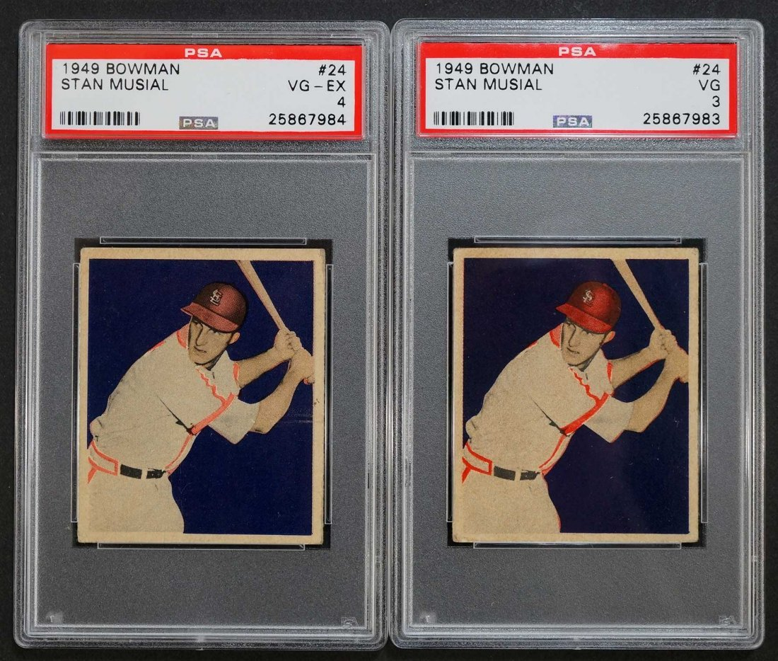 Stan Musial 1949 Bowman Baseball Cards (2). Both are