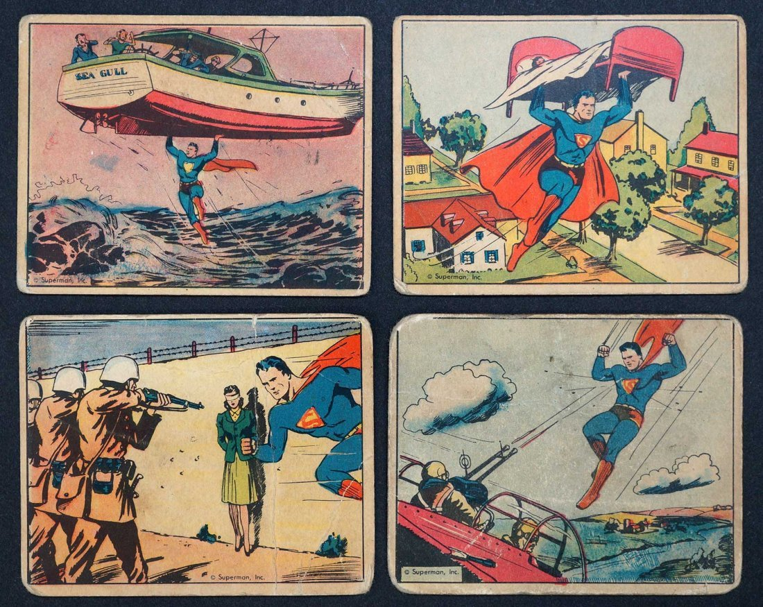 1940 Superman Gum Trading Cards (4). Four cards from