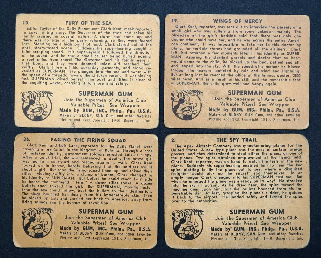 1940 Superman Gum Trading Cards (4). Four cards from - 2