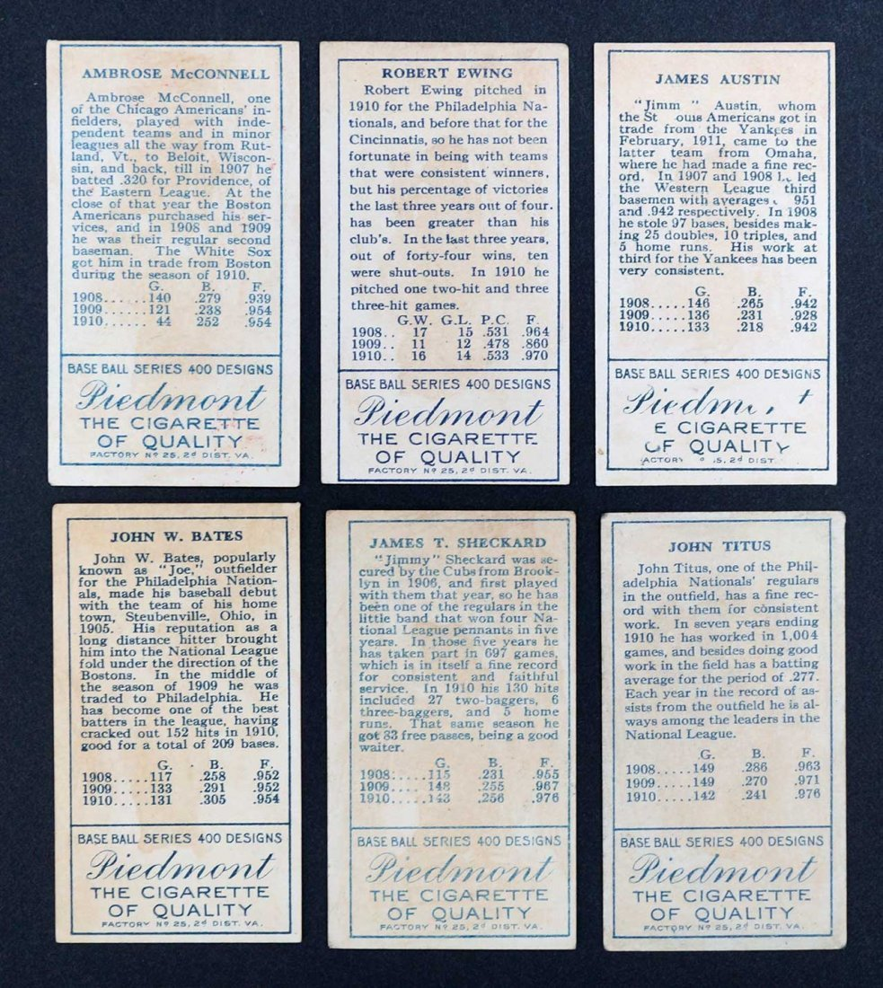 1911 T205 Gold Border Group of Baseball Cards (6). - 2