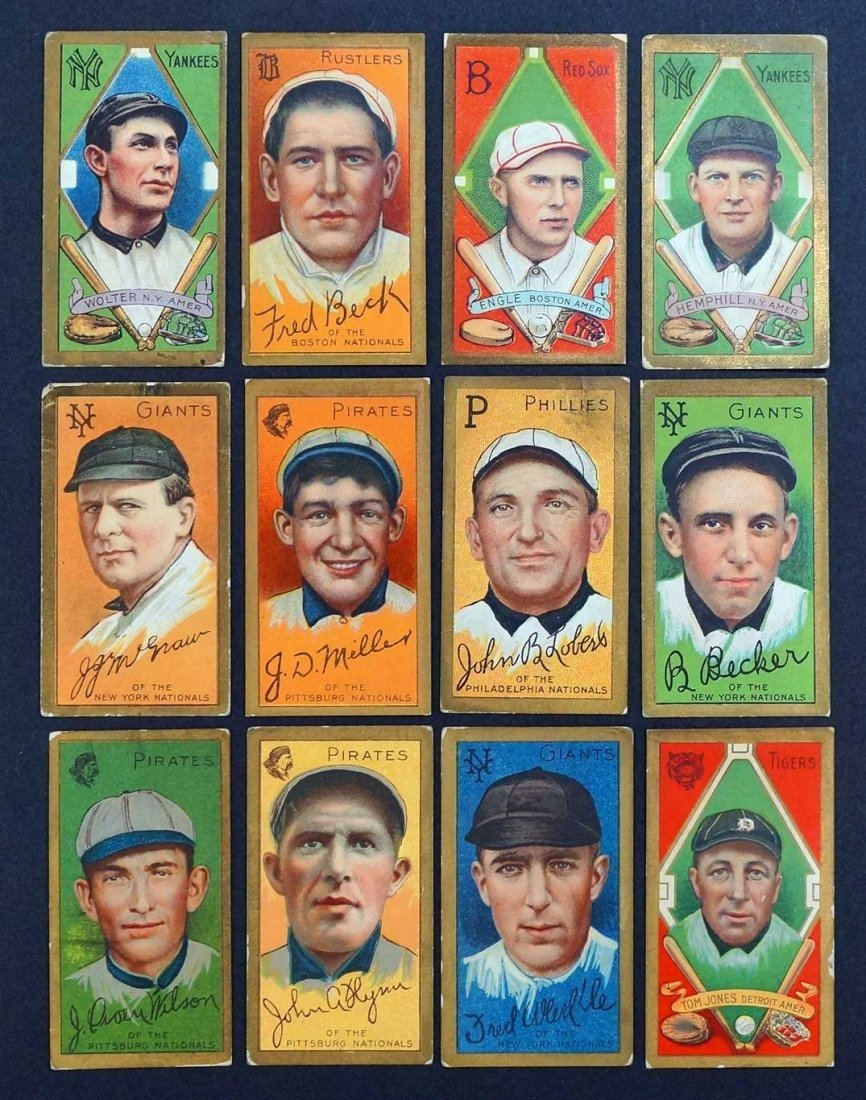 1911 T205 Gold Border Group of (12) Baseball Cards.