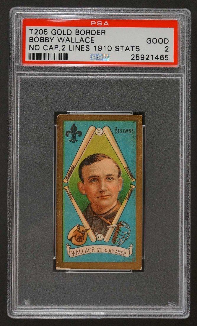 1911 T205 Gold Border Bobby Wallace No Cap, 2 Lines