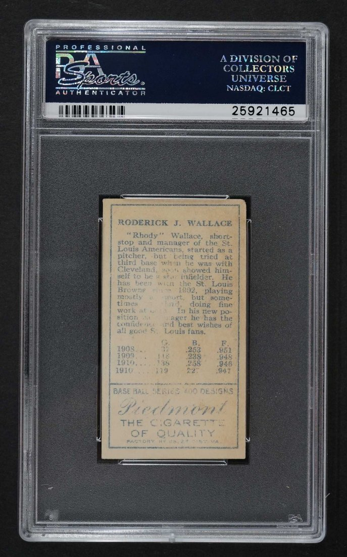 1911 T205 Gold Border Bobby Wallace No Cap, 2 Lines - 2