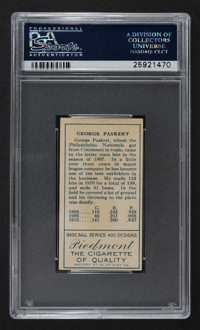 1911 T205 Gold Border George Paskert (PSA 2) - 2