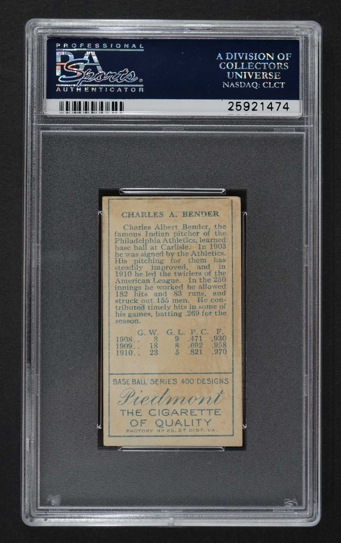 1911 T205 Gold Border Chas. Bender (PSA 3) Provenance: - 2