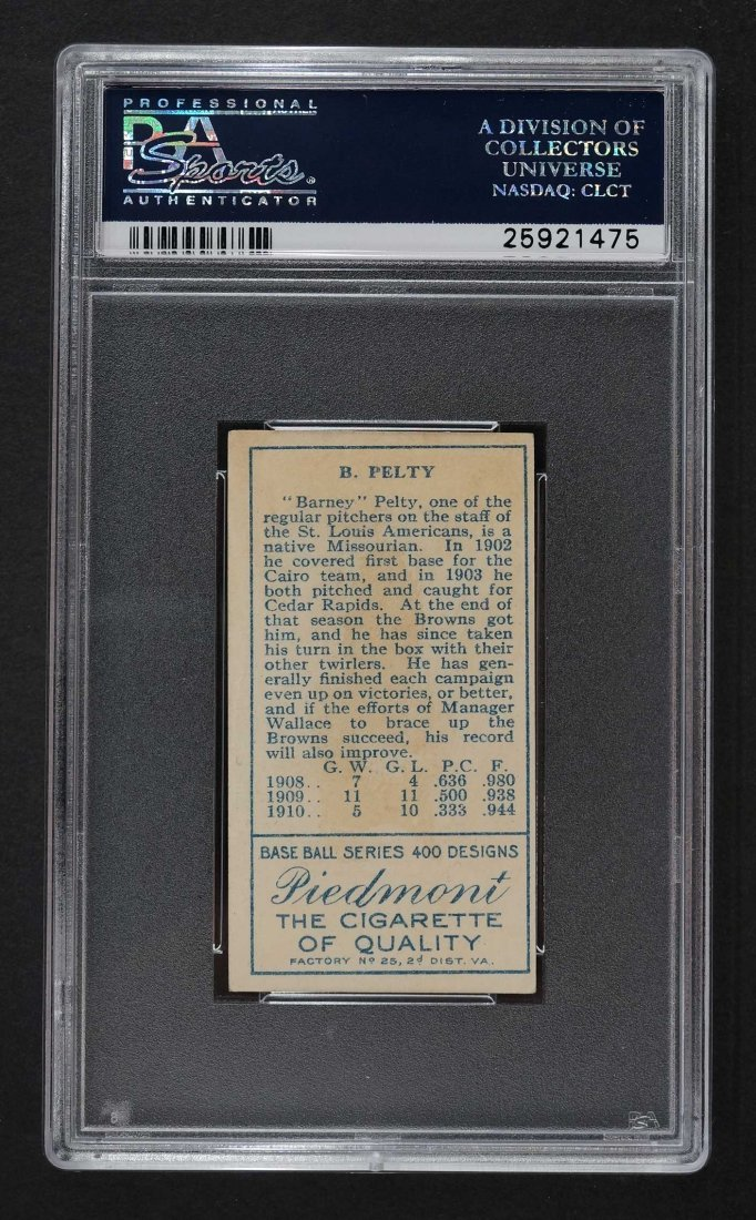 1911 T205 Gold Border Barney Pelty (PSA 2) Provenance: - 2