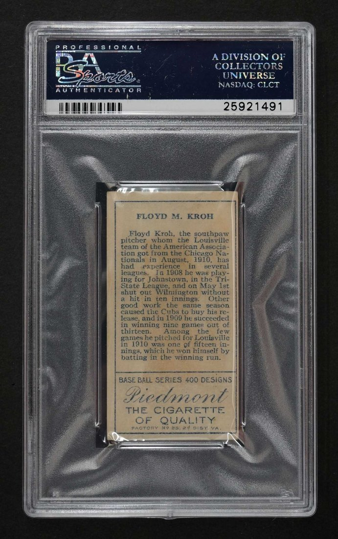 1911 T205 Gold Border Floyd M. Kroh (PSA 2) Provenance: - 2