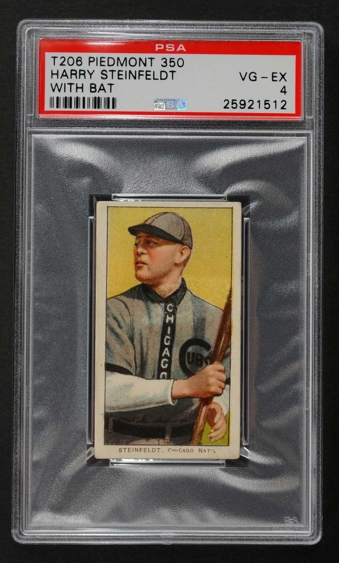 1909-11 T206 Piedmont Harry Steinfeldt With Bat (PSA 4)
