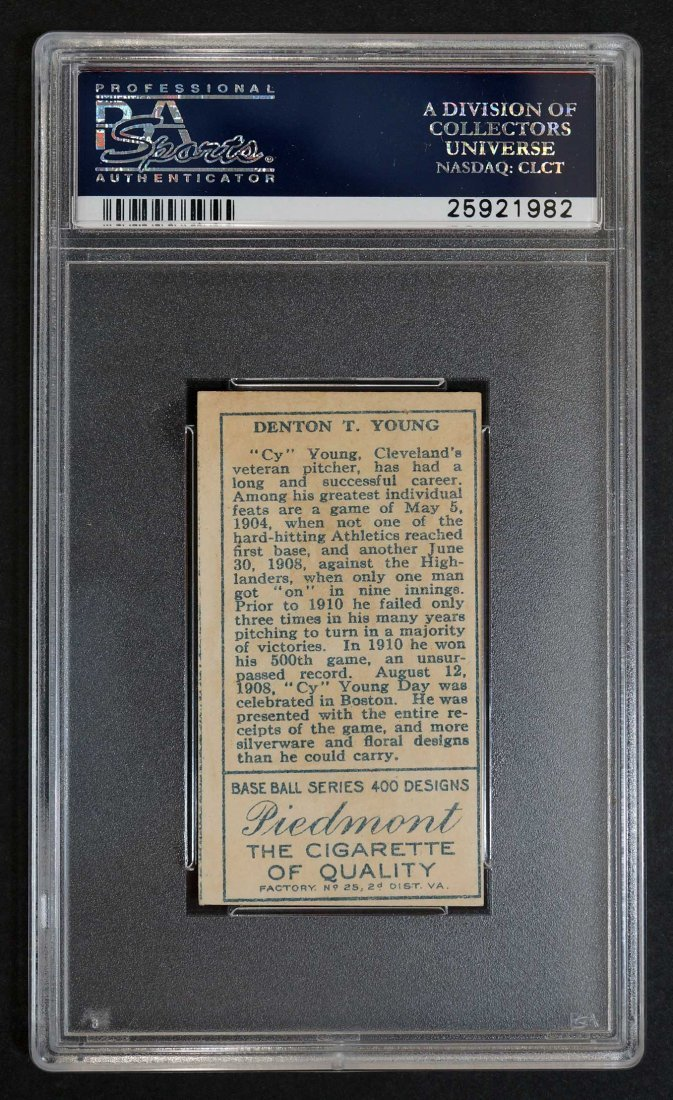 1911 T205 Gold Border Cy Young (PSA 2.5) Provenance: - 2