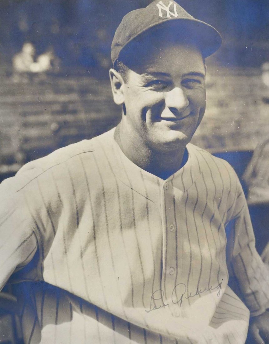 Lou Gehrig Signed Photograph. Just found in an upper