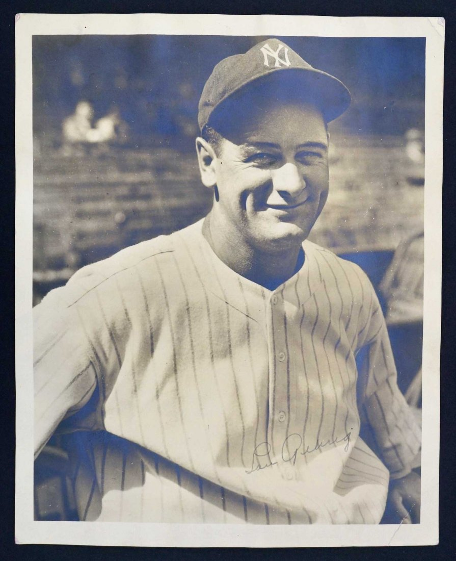 Lou Gehrig Signed Photograph. Just found in an upper - 2