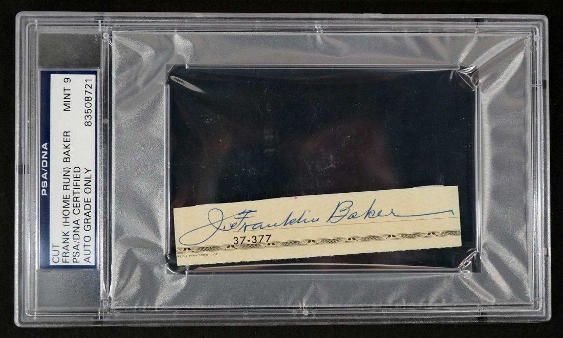 Frank (Home Run) Baker Signed Check Strip. PSA/DNA Mint